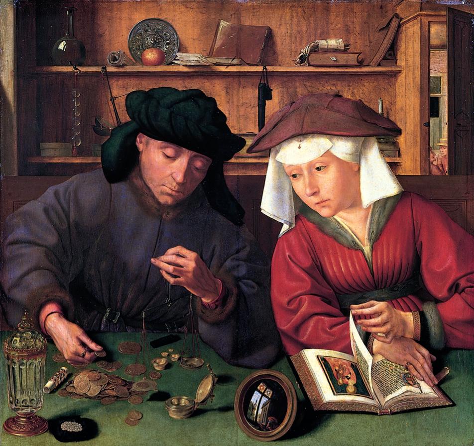 """""""Le prêteur et sa femme"""" (1514) par Quentin Metsys - Musée du Louvre (© CC / The Yorck Project)"""