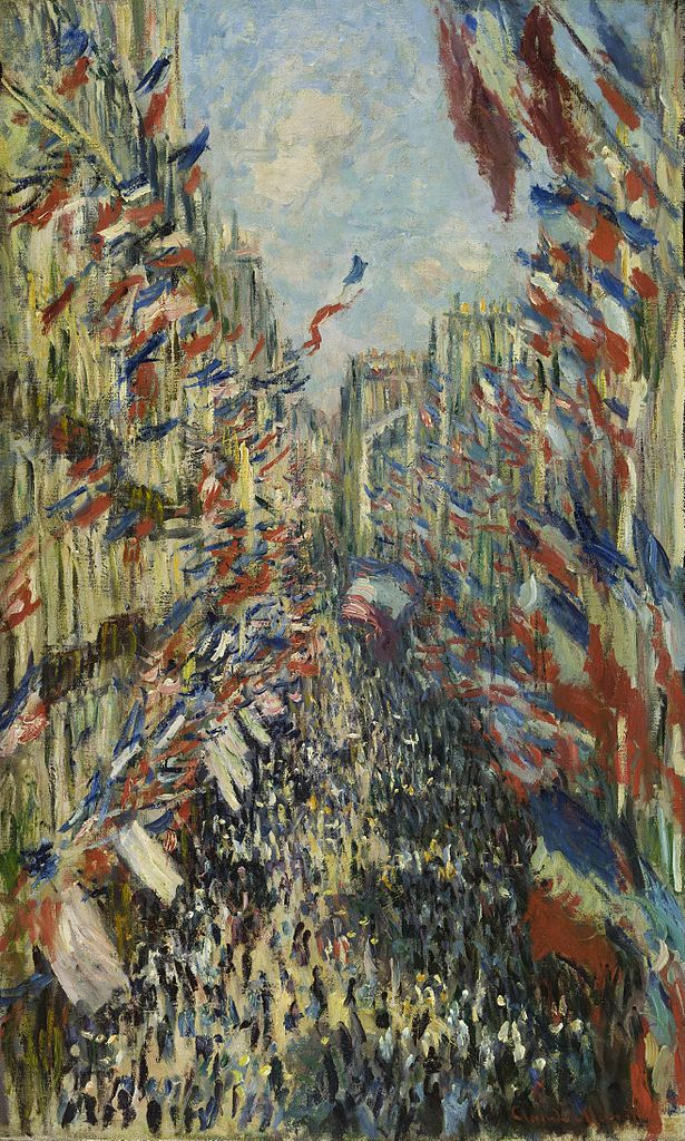 """La rue Montorgueil, à Paris. Fête du 30 juin 1878. Claude Monet // CC - Google Art Project"""