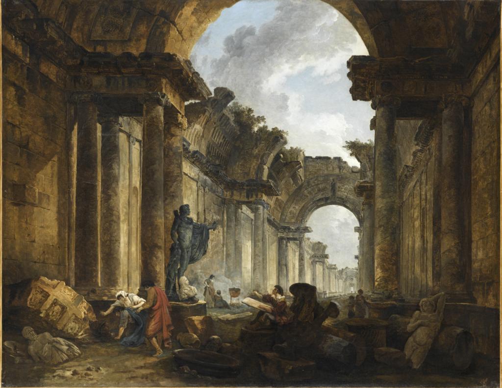 Vue imaginaire de la grande galerie du Louvre en ruines