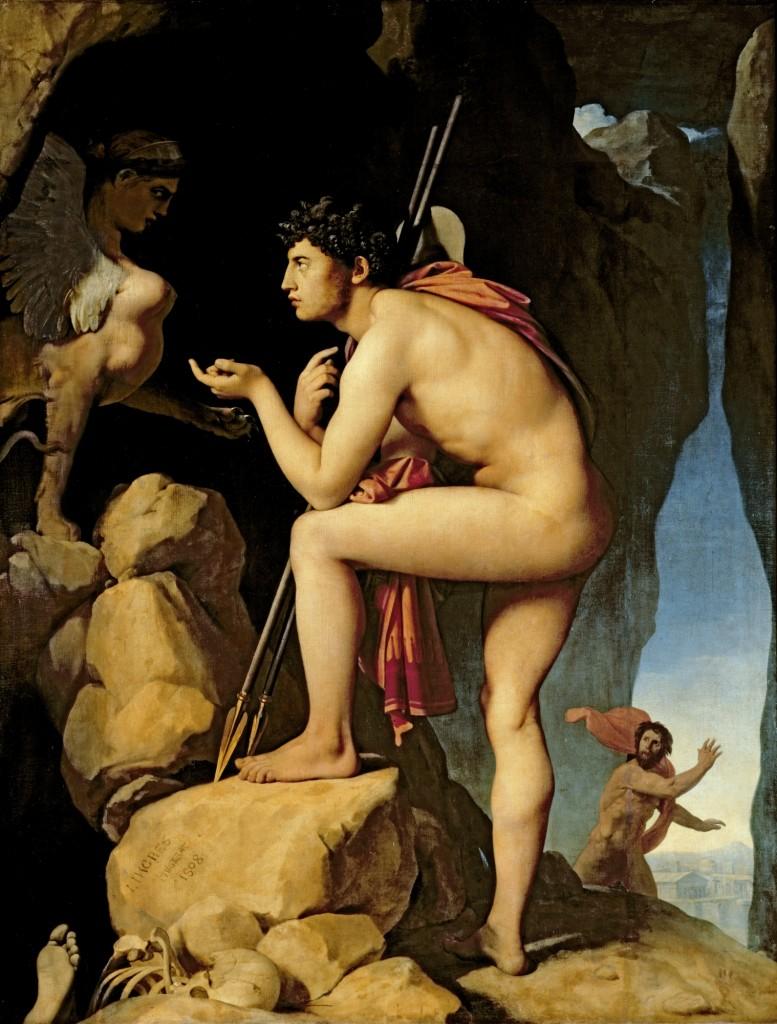 """""""Œdipe explique l'énigme du sphinx"""" par Jean-Auguste-Dominique Ingres (1808, reprise en 1827)"""